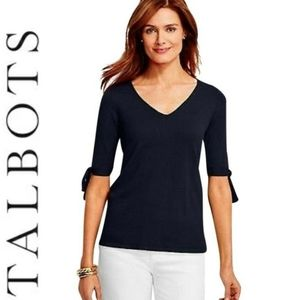Talbots tie sleeve v-neck sweater/top